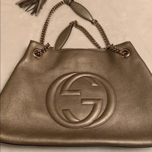 Gucci Handbags - Gucci Soho Metallic Chain Medium Tote Gold Beige